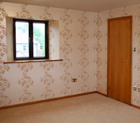 Lewis Decorating — Bedroom (Gullane) — Wallpaper and paint has been applied to newly plastered walls and ceiling, walls and ceiling were sealed in preparation.